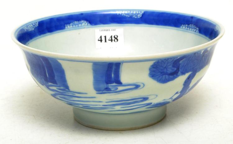 A CHINESE BLUE AND WHITE PORCELAIN BOWL, YANGHETAND ZHI FOUR CHARACTER MARK TO BASE, 16 CM WIDE