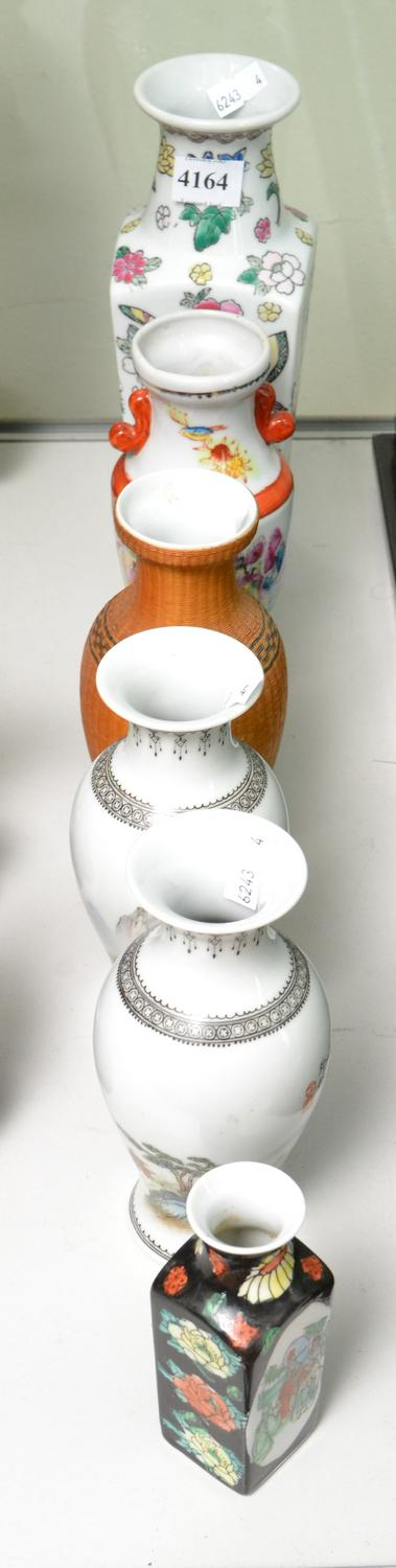 SIX CHINESE PORCELAIN VASES INCLUDING TWO MARKED JINGDEZHEN, TALLEST 20 CM