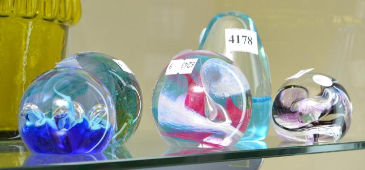 FIVE 1990S SCOTTISH CAITHNESS GLASS PAPERWEIGHTS, ALL SIGNED, LARGEST 6.8 CM DIAMETER