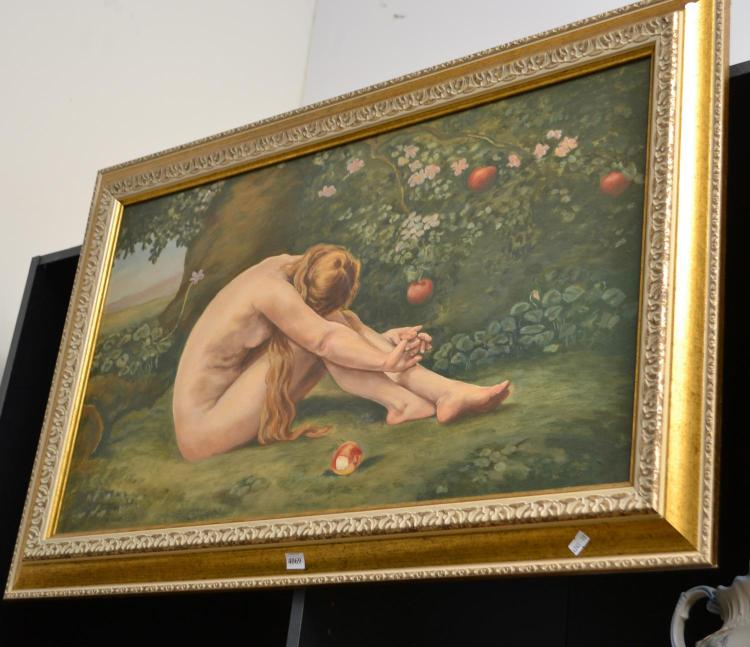 AN OIL ON CANVAS DEPICTING A LADY UNDER AN APPLE TREE WITH FALLEN APPLES, CANVAS SIZE 80 CM X 47 CM