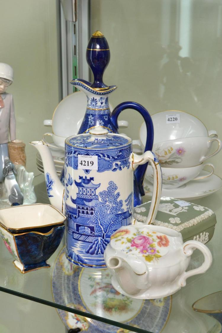 A COLLECTION OF CERAMICS INCLUDING INVALID JUG AND WEDGWOOD
