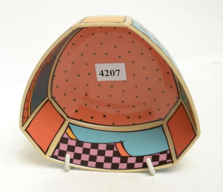 A ROSENTHAL STUDIO LINE BOWL, WITH 80'S INSPIRED ART WORK
