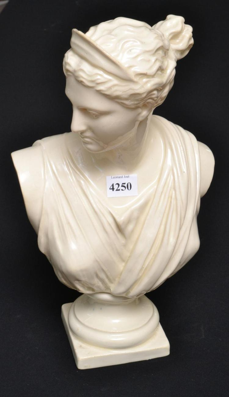 A GLAZED BUST OF A ROMAN LADY (FAULTS)