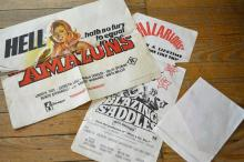THREE ORIGINAL MOVIE POSTERS; BLAZING SADLES, THE AMAZONS AND CADDY SHACK