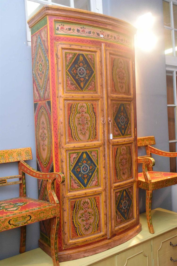 Large wooden 2 door cabinet with hand painted floral pattern for Wood doors on painted cabinets