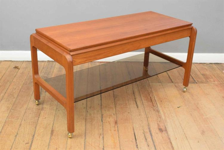 Mid century double fold out teak coffee table 58h 112w 45d for Fold out coffee table