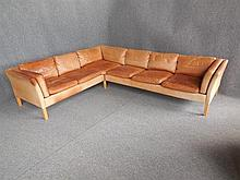 TWO PIECE SIX-SEAT TAN LEATHER SOFA back lengths 270 x 216cm
