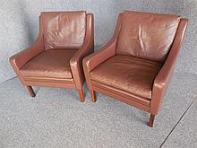 PAIR OF DANISH BROWN LEATHER ARMCHAIRS