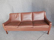 DANISH THREE-SEAT BROWN LEATHER SOFA back length 175cm