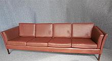 DANISH FOUR-SEAT BROWN LEATHER SOFA back length 248cm