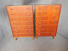 PAIR OF DANISH SIX-DRAWER TEAK CHESTS both 111 x 66 x 38cm