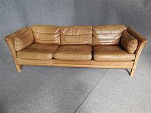 DANISH THREE-SEAT GREEN LEATHER SOFA back length 206cm