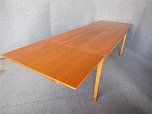 DANISH THREE-LEAF TEAK AND OAK EXTENSION TABLE 73 x 301 x 90cm extended