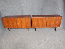 PAIR OF DANISH POUL HUNDEVAD ROSEWOOD SIDEBOARDS both 75 x 140 x 45