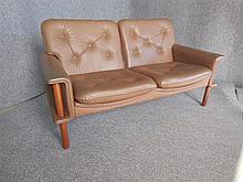 DANISH 1960S TWO-SEAT BROWN LEATHER SOFA back length 144cm