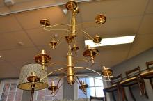 A PAIR OF BRASS DECO STYLE CEILING LIGHTS