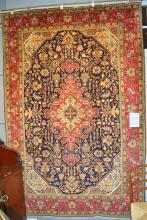 Persian fine TABRIZ CARPET in rich PERSIAN blue ground colour, hand knotted with 100% wool pile very dense weave and extremely durab...