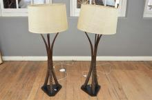 A PAIR OF ANTELOPE HORN LAMPS WITH SHADES
