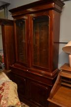 A REPRODUCTION VICTORIAN GLAZED BOOKCASE