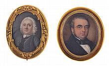 TWO MINIATURE PORTRAIT BROOCHES