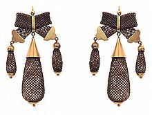 A PAIR OF VICTORIAN MOURNING EARRINGS