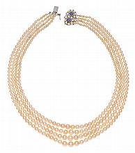 A MULTI-STRAND CULTURED PEARL NECKLACE
