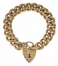 A GOLD PADLOCK BRACELET