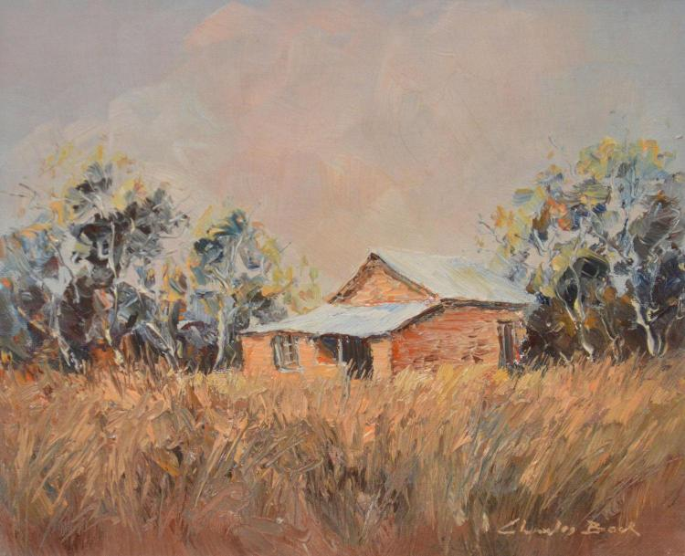 CHARLES BOCK, COOK HOMESTEAD, SOUTH MIDDLEBACK RANGES, S.A, OIL ON BOARD, 19 X 24.5CM