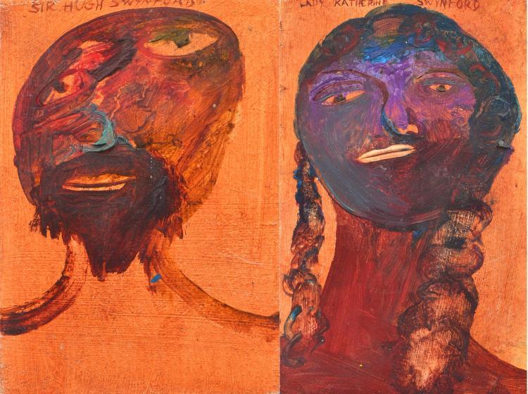 ANNE HALL (born 1945) Lady Katherine Swynford and Sir Hugh Swynford oil on composition board (2)