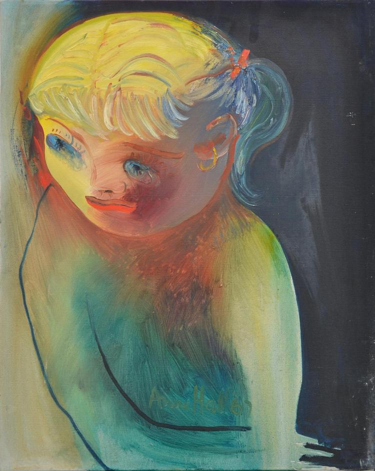 ANNE HALL (born 1945) Worried Child 1967 oil on board