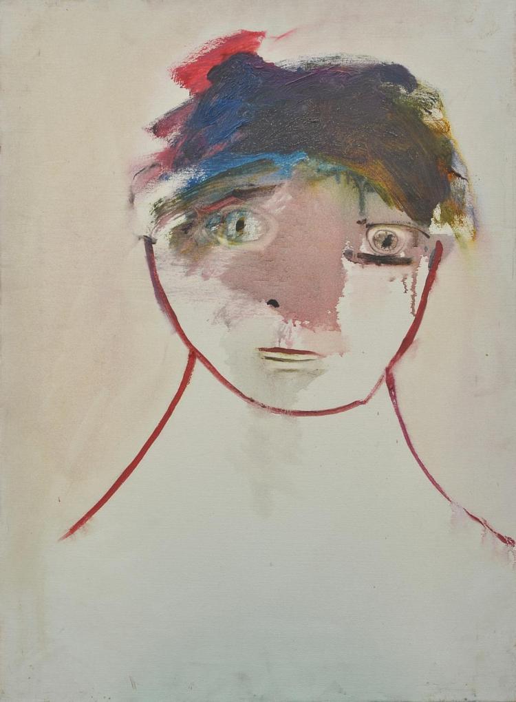 ANNE HALL (born 1945) Pensive Boy oil on canvas