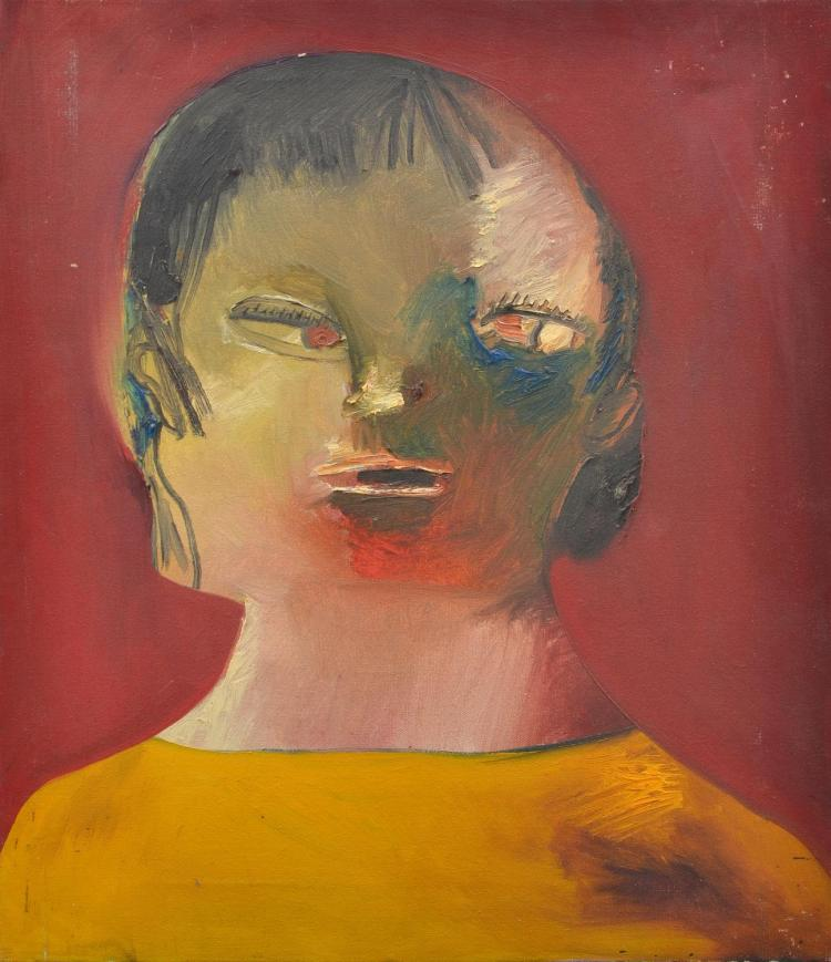 ANNE HALL (born 1945) Female with Yellow Top oil on canvas