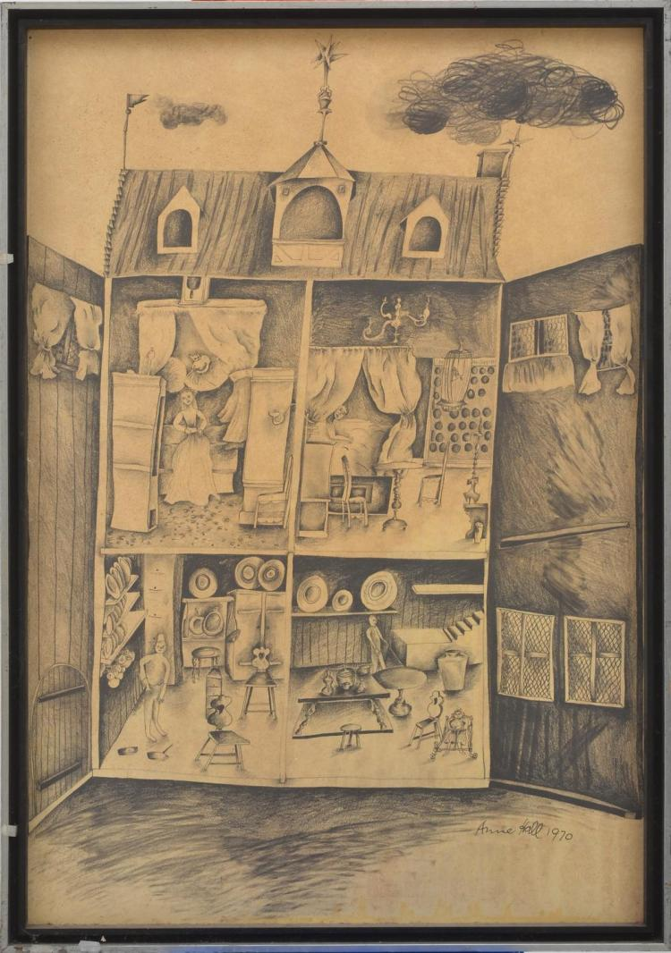 ANNE HALL (born 1945) The Dolls House 1970 pencil on paper laid on card