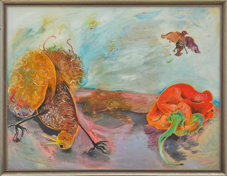 ANNE HALL (born 1945) Pheasant and Red Pepper Still Life 1968 oil on canvas