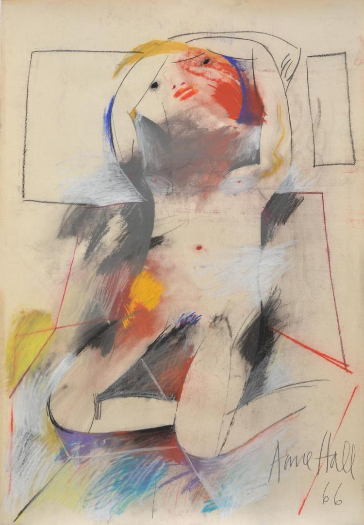ANNE HALL (born 1945) Abstract Female Nude Reclining 1966 pastel on paper