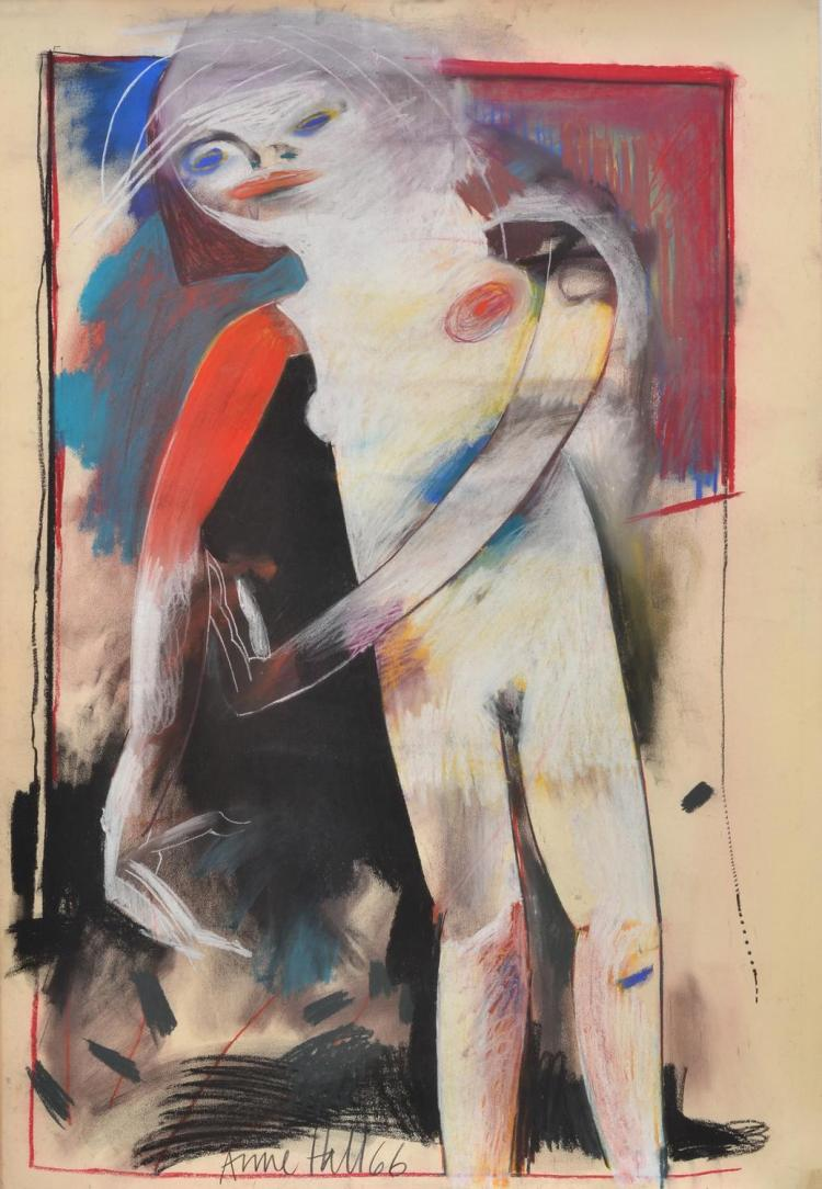 ANNE HALL (born 1945) Female Nude on Black with Red Arm 1966 pastel on paper