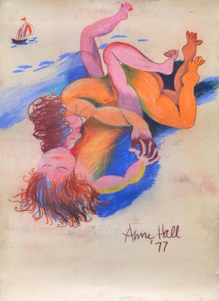 ANNE HALL (born 1945) Lovers on the Beach 1977 pastel on paper
