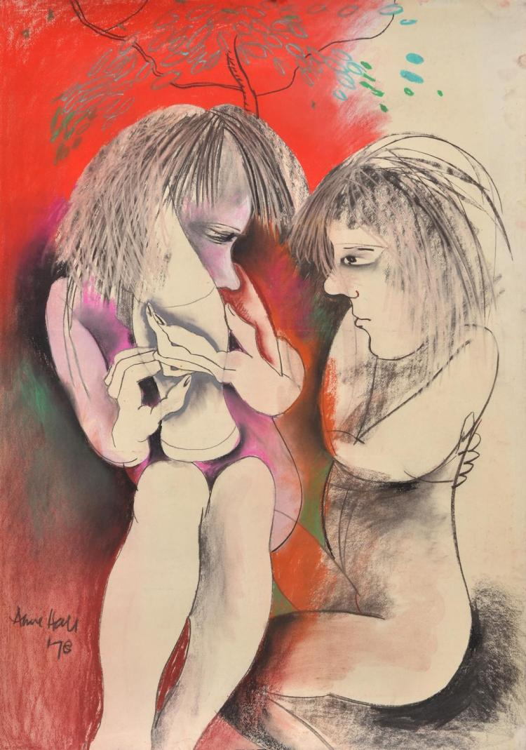 ANNE HALL (born 1945) Two Female Nudes Under A Tree 1978 pastel on paper