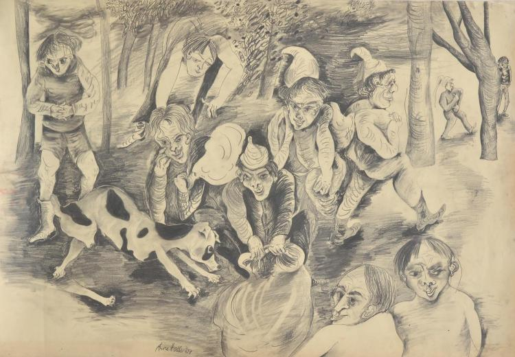 ANNE HALL (born 1945) Little Dog Spot 1969 pencil on paper