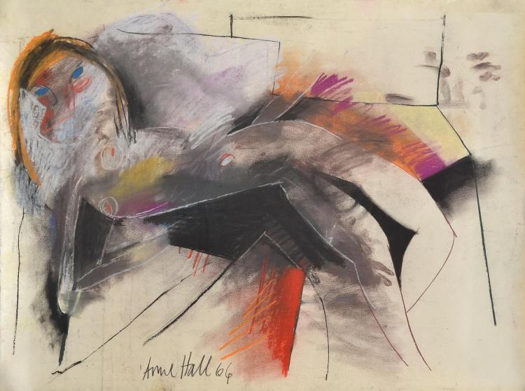 ANNE HALL (born 1945) Abstract Female Lounging 1966 pastel on paper