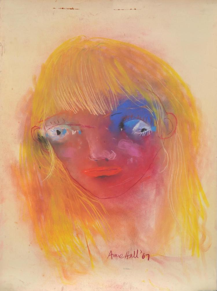 ANNE HALL (born 1945) Portrait with Blonde Hair 1967 pastel on paper