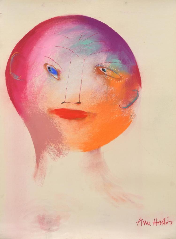 ANNE HALL (born 1945) Portrait with Pink Face 1967 pastel on paper