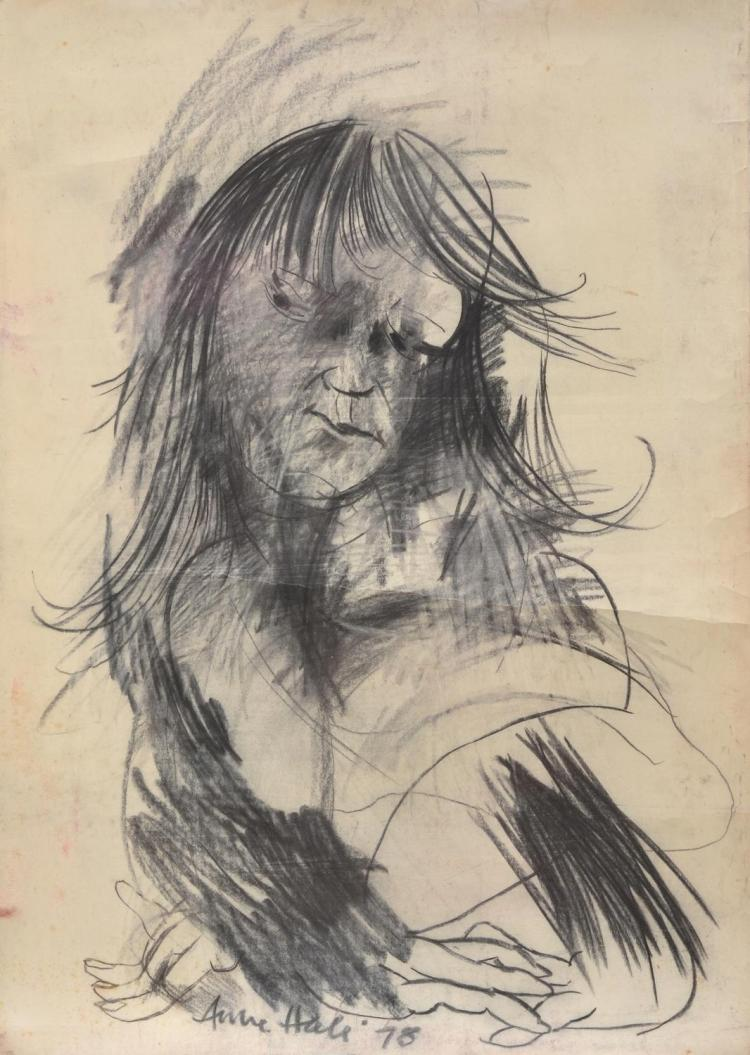 ANNE HALL (born 1945) Portrait with Arms Folded 1978 charcoal on paper