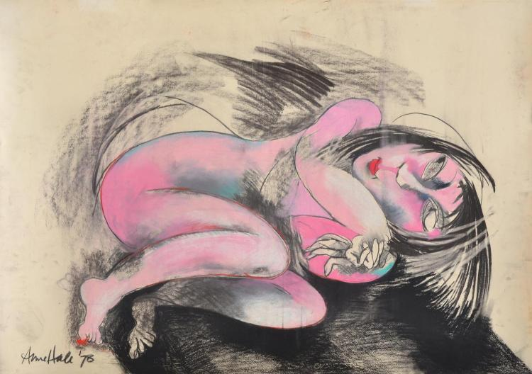 ANNE HALL (born 1945) Pink Nude 1978 pastel on paper