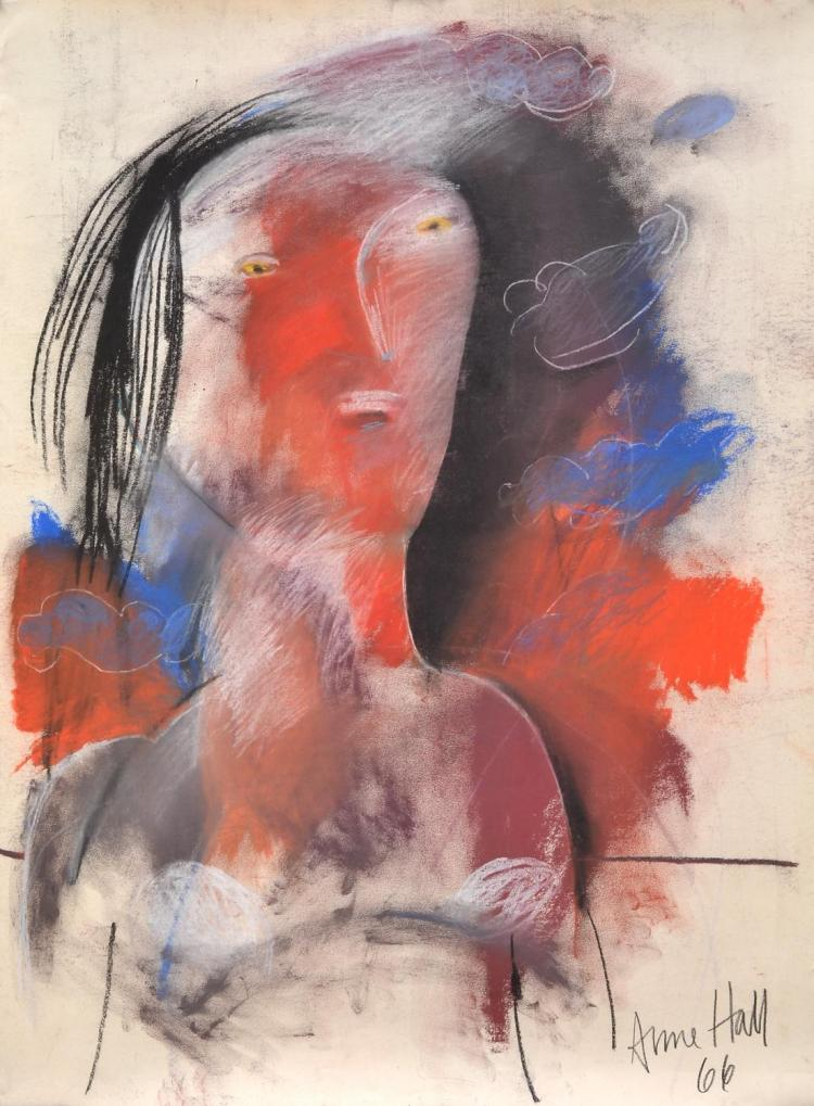 ANNE HALL (born 1945) Abstract Woman with Red Face 1966 pastel on paper
