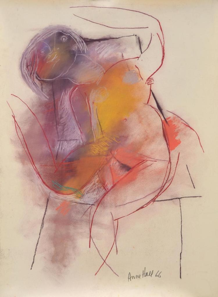 ANNE HALL (born 1945) Abstract Nude in Pose 1966 pastel on paper