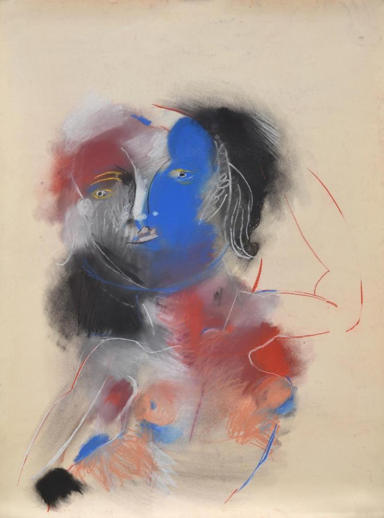 ANNE HALL (born 1945) Portrait with Blue Face pastel on paper