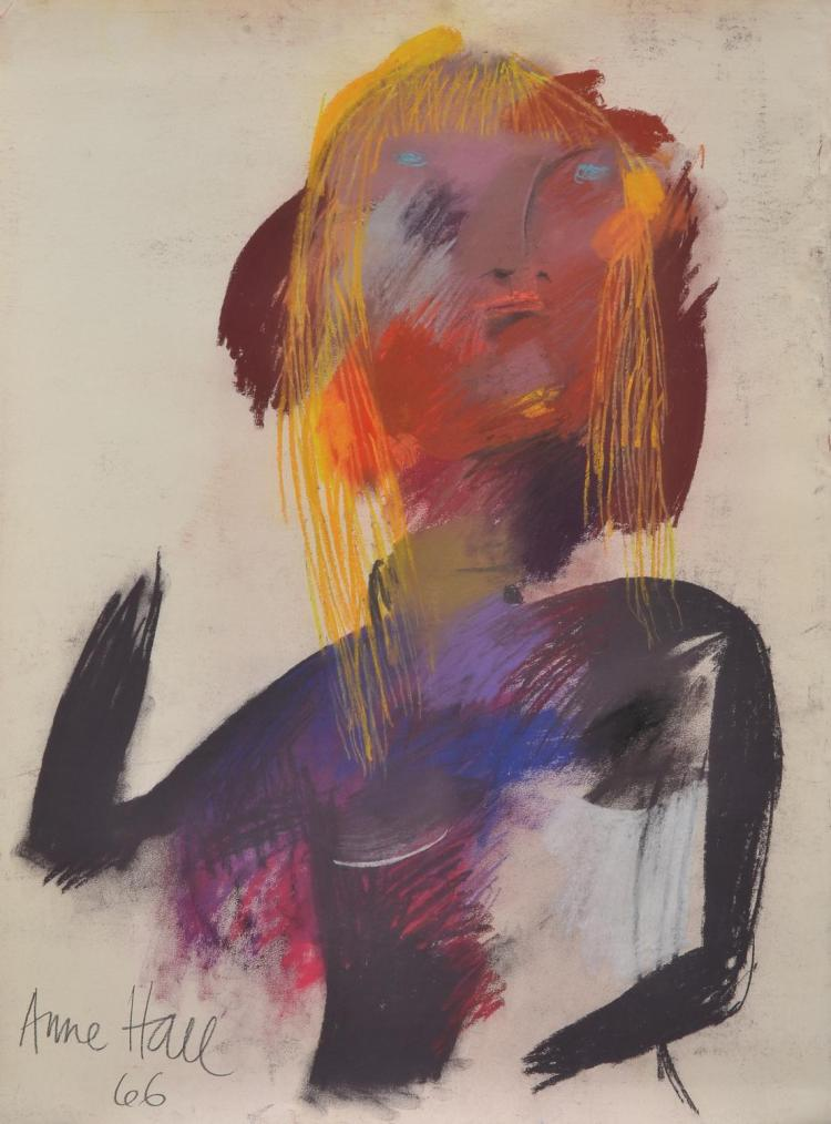 ANNE HALL (born 1945) Abstract Woman with Yellow Hair 1966 pastel on paper