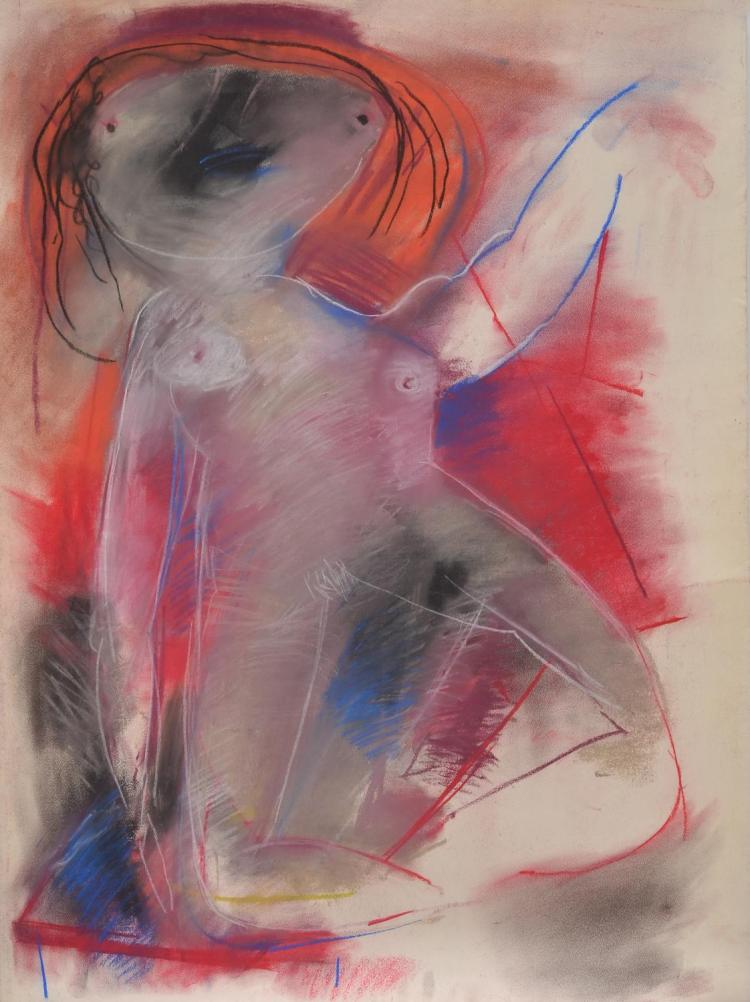 ANNE HALL (born 1945) Abstract Nude With Orange and Black Hair pastel on paper
