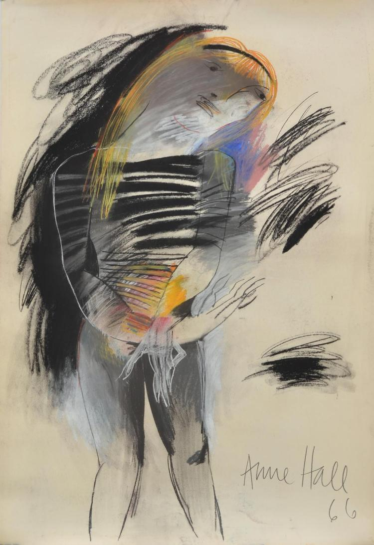 ANNE HALL (born 1945) Striped Woman with Headband 1966 pastel and charcoal on paper